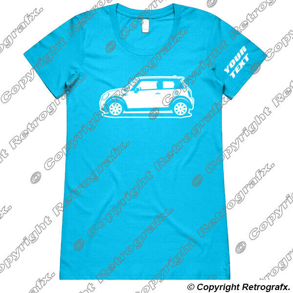 Personalised Ladies Fitted Tee T-shirt - For BMW Mini Cooper One Automotive Fans