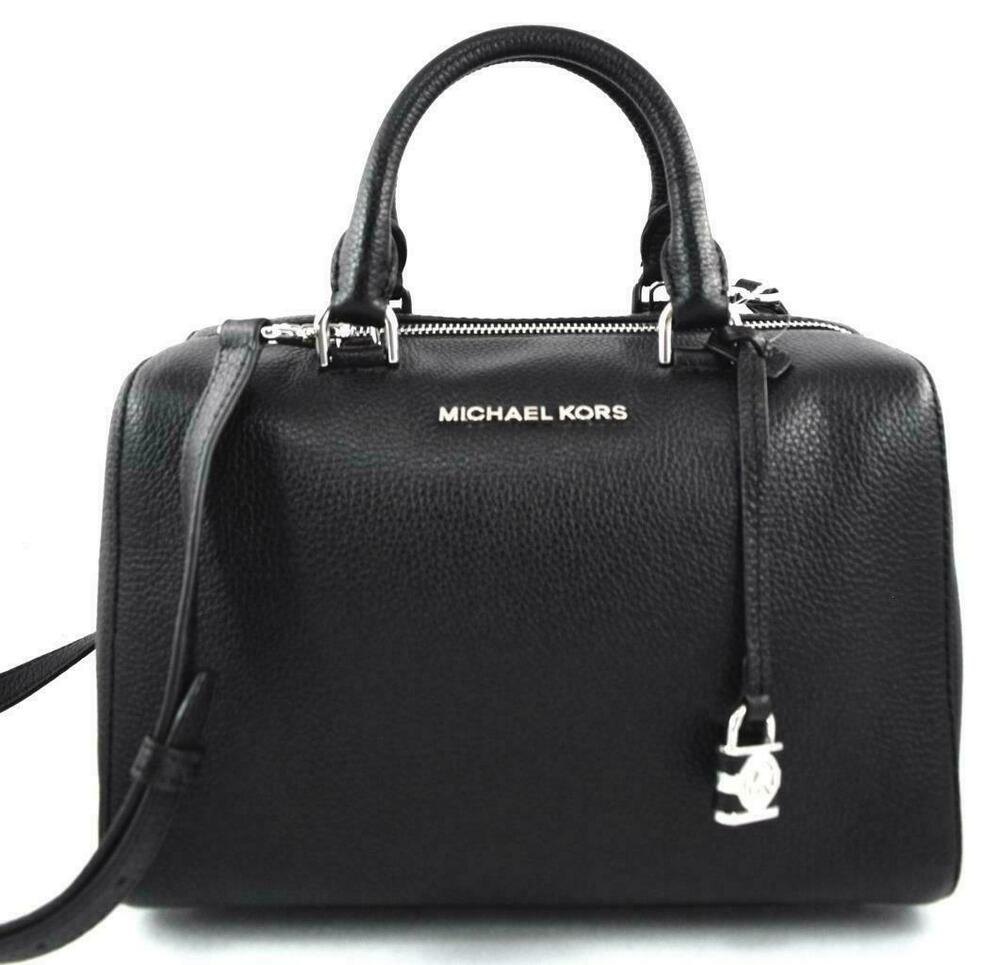 6663aac645e0 Details about NWT MICHAEL KORS Black Pebbled Leather KIRBY Medium Satchel  Tote Handbag Silver