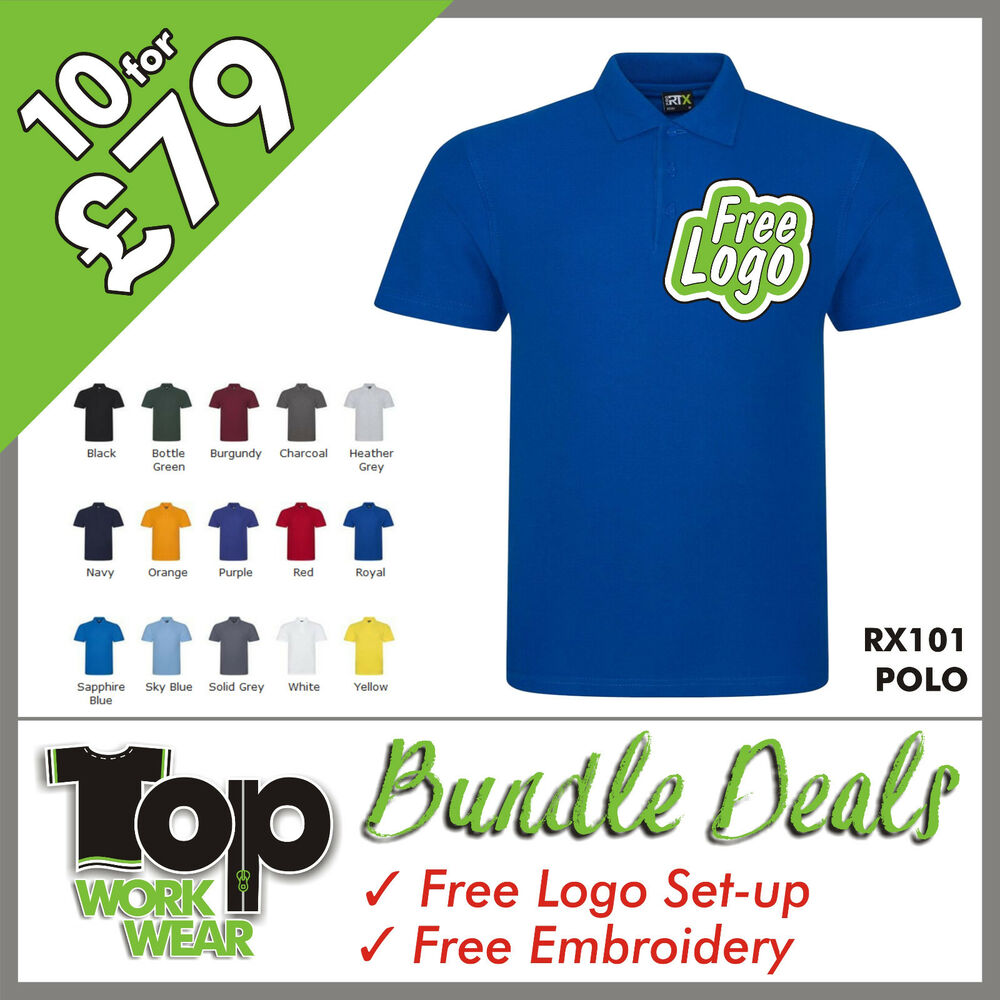 b4715952a Details about Custom Embroidered Polo Shirt Bundle Personalised with your  own Logo design