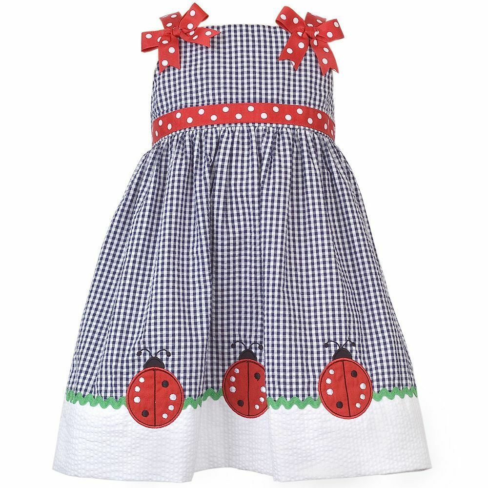 4937caf354b9 Details about NWT Rare Editions Too Baby Girls Ladybug Checkered Dress 4T  Blue White Red Navy
