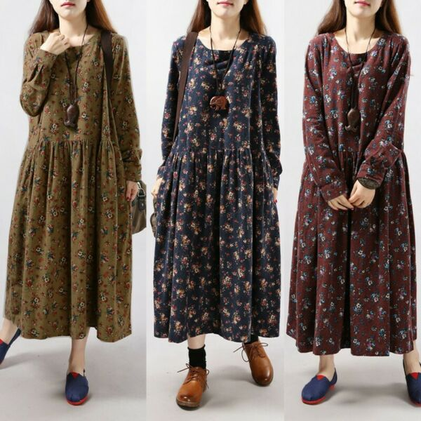 ZANZEA Femme Oversize Floral Printed Manches longues Party Club Dress Maxi Robe
