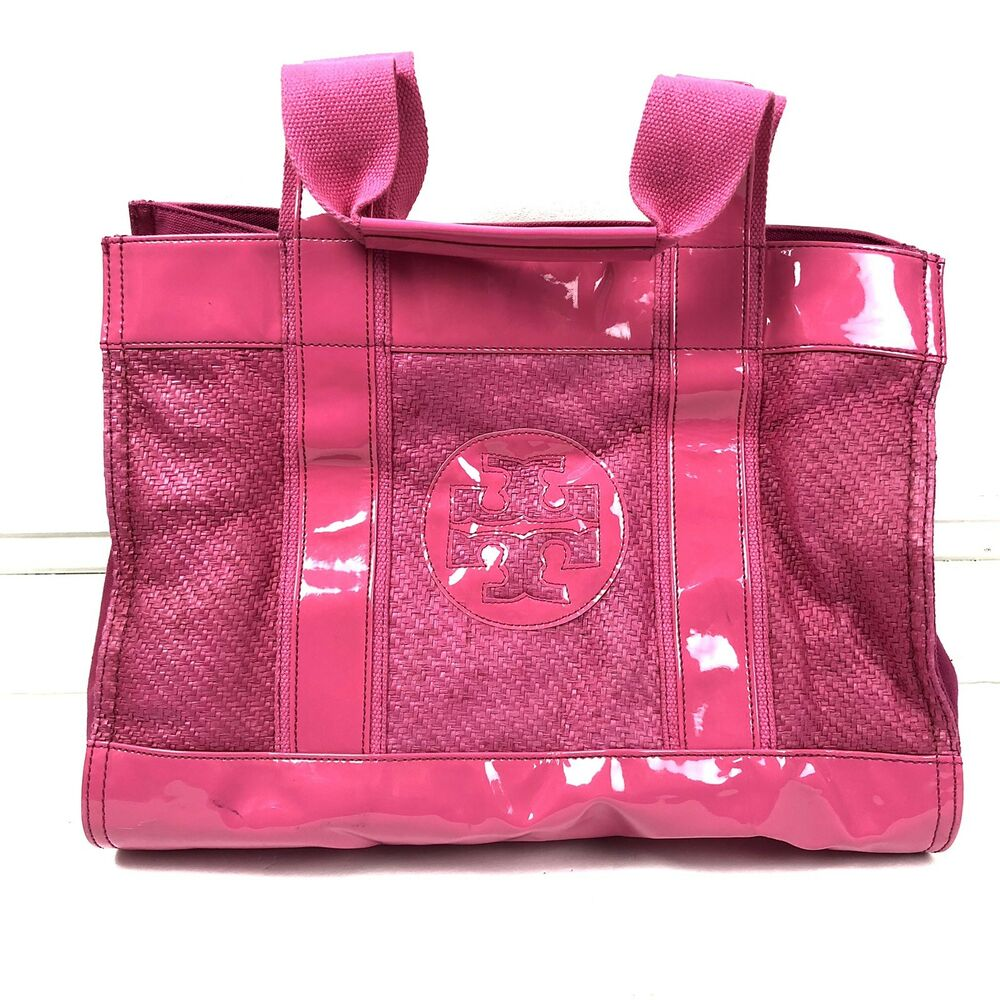 """d185df5d8f8 Details about Tory Burch Hot Pink Tory Straw Tote 5"""" Strap Pocket Medium"""