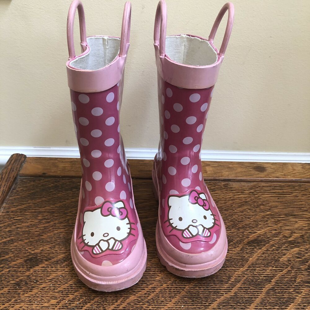 5ff7899bc Details about Pink Polka Dot Hello Kitty Rain Boots Galoshes XS Size 5/6  Little Girls
