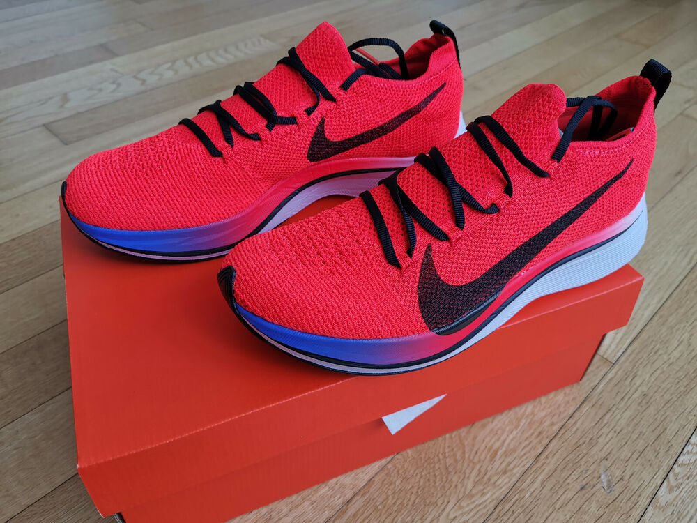 d273c9d15c3be Details about Mens Nike Zoom Vaporfly 4% Flyknit Bright Crimson Sapphire  White Running 2018