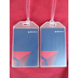 DELTA AIRLINES NEW LOGO LUGGAGE TAGS - 2-TAG SET - VIVID AIRPLANE - BAG NAME ID