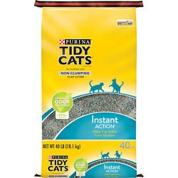 Purina Tidy Cats Non Clumping Cat Litter; Instant Action Low Tracking Cat 40 Lb