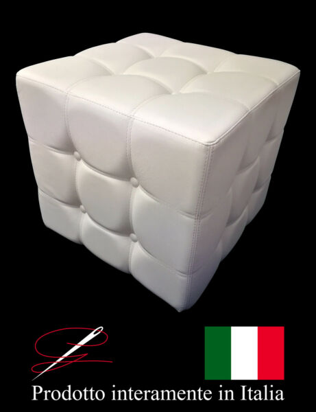 POUF POUFF PUFF PUF CUBO BOTTONI  ECO-PELLE POGGIAPIEDI DESIGN MADE IN ITALY