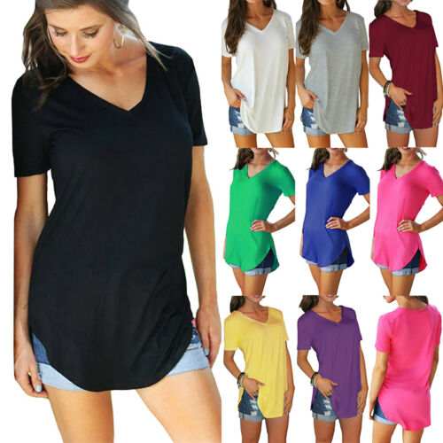 Womens Plus Size Short Sleeve V Neck T Shirt Tops Blouses Loose Casual Tunic Tee