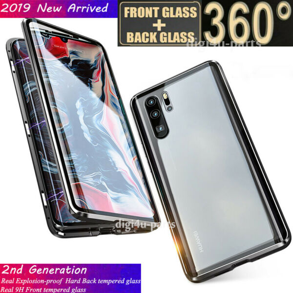Huawei P30/Pro/Lite Magnetic Adsorption Tempered Glass 360° Full Protective Case