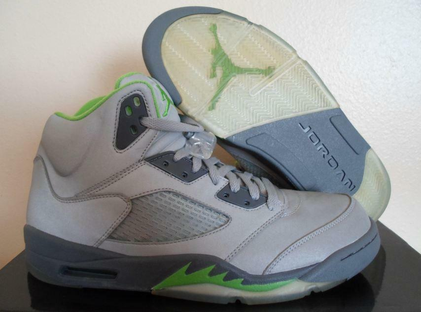 new arrival 3184d ac6e3 Details about NEW BEL AIR JORDAN RETRO 5 V 4 VI 6 GLOW SILVER GREEN BEAN  FRESH PRINCE SHOES 11