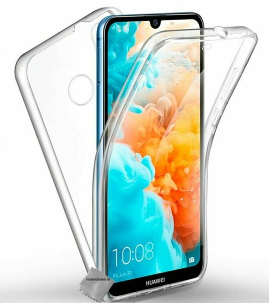 Housse etui coque gel 360 integrale Huawei Y7 (2019) + film ecran - TRANSPARENT
