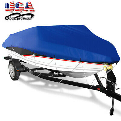 Trailerable Boat Cover 210D Waterproof  Duatproof Fishing Ski Bass Blue 14 -16ft