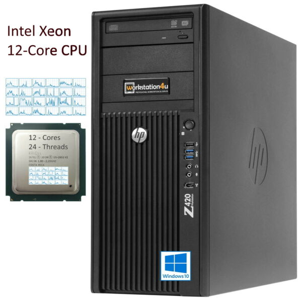 HP Z420 Workstation PC Xeon E5-2651v2 ⓬-Core RAM 16GB SSD 240GB Quadro 600 Win10