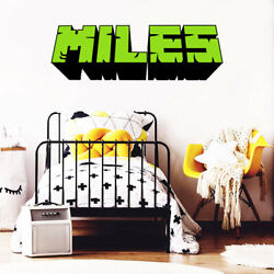 Gamer Name Decal - inspired by Mine craft - Personalized Gaming 3D Wall Decal