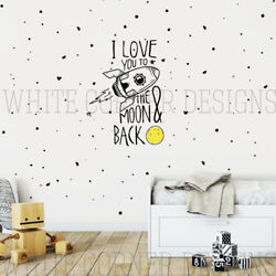 I Love You to the Moon and Back Wall Decal, Rocket Wall Decals, Star Decals ga69