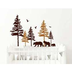 2 Color Pine Tree Forest Wall Decals,Tree Wall Decals, Forest Mural, Forest tree