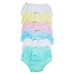 4 Girls Ruffle Panties Kids Toddler Underwear Cotton Solid Color Size 12 3 4 5 6