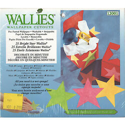 25 Bright Star Wallies Multi-Color Stars Wallpaper Cutouts New Sealed Package