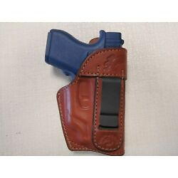FITS GLOCK 43 WITH GREEN OR RED CT LASER, IWB, BROWN leather holster with shield