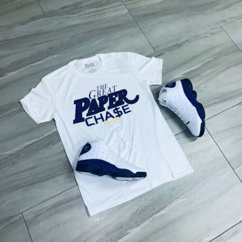 Effectus Clothing Tee to match Jordan Retro 13 Laker Sneakers. Paper Chase Tee
