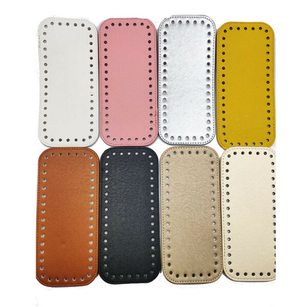 Rectangle Bottom For Knitting Bag Leather Accessories with Holes Diy Crochet Bag