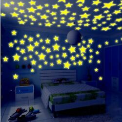 Glow Wall Stickers Decal for Baby Kids Bedroom Home Decor Color Stars Luminous