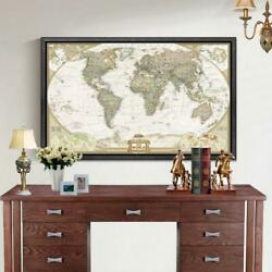 Large Vintage World Map Office Supplies Detailed Antique Poster Wallpaper
