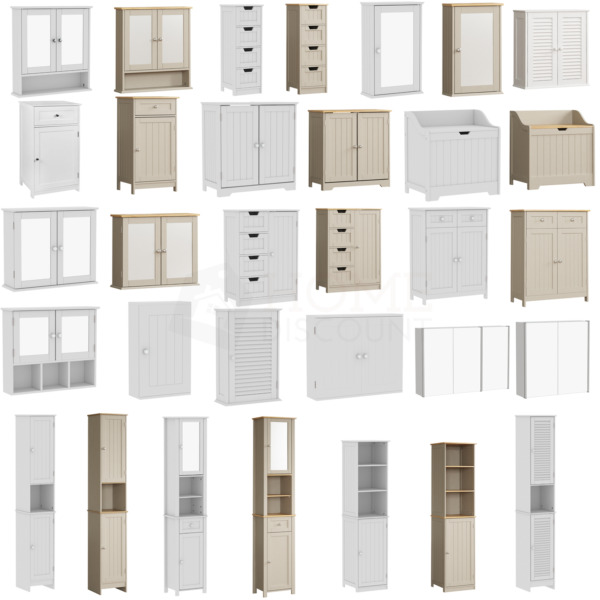 Bathroom Cabinet Cupboard Storage Furniture White Mirror Drawers TallBoy MDF