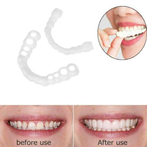 1pair Silicone Fake Teeth Perfect Smile Tooth Cover Whitening Denture Oral Care