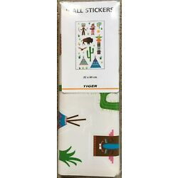 32 x 60 cm Tiger Stores Wall Stickers Indians Buffalo Teepee Cactus Bird Totem