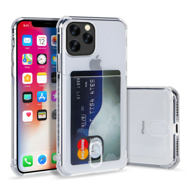 For iPhone 11 Pro Max XS XR 7 8 6S 5 Card Slot Transparent Shockproof Case Cover
