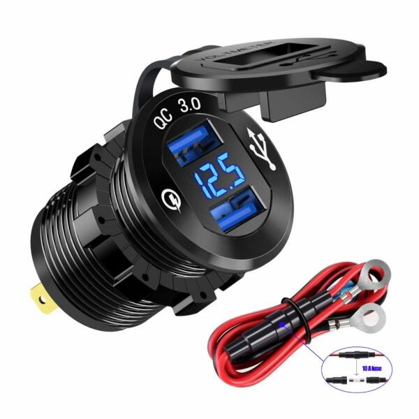 Aluminum Dual QC 3.0 USB Car Charger Socket Power Outlet with Digital Voltmeter