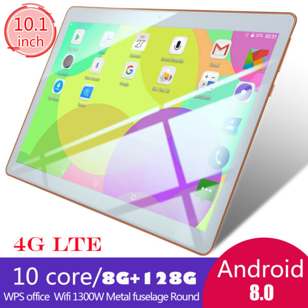 10.1 Pouces Tablette Tactile WiFi 4G Tablet 8GB +128GB PC Android 8.0 Doule SIM