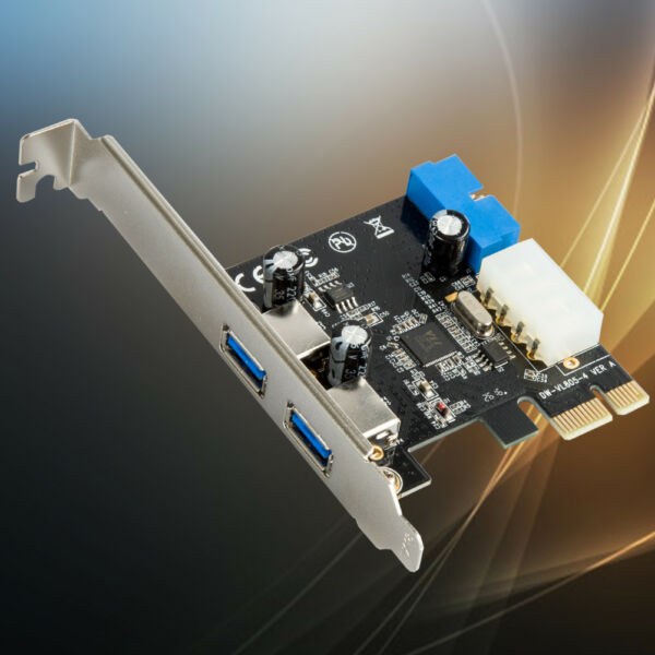 2 Port USB 3.0 PCI-E Expansion Card 19pin Header 4pin IDE Power Connector  TW