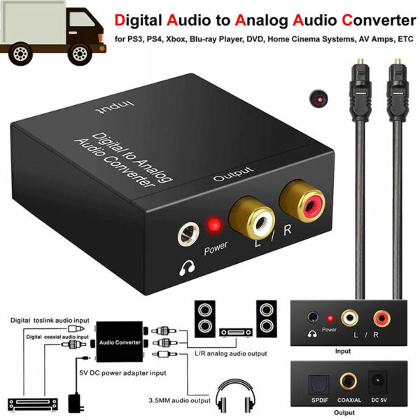 Optical Coax Toslink Digital to Analog Converter RCA L/R Stereo Audio Adapter W