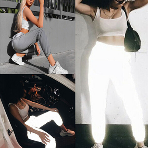 Fashion Flash Reflective Jogger Pants Women Casual Solid Harem Trousers PantsW