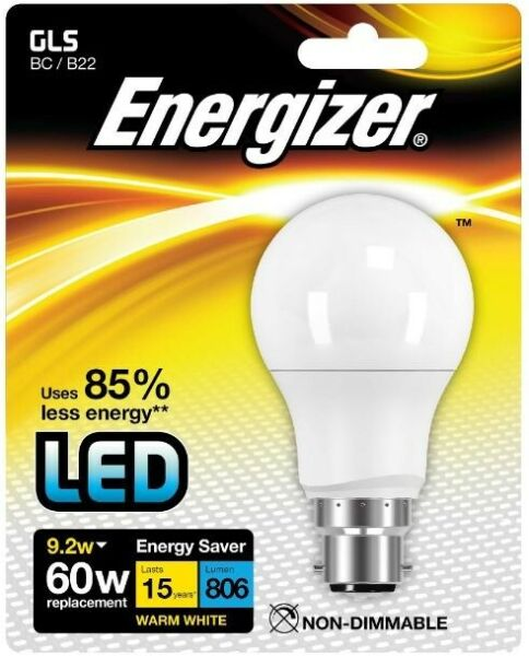 Energizer LED Non-Dimmable Opal GLS Bulb 9.2W (60W) BC B22 - Warm White