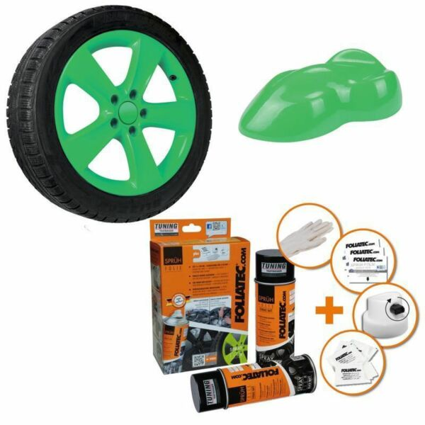 Hambach,FrancePEINTURE JANTE VERT BRILLANT KIT SPRAY ELASTIQUE PLASTIFIANT  FT2074