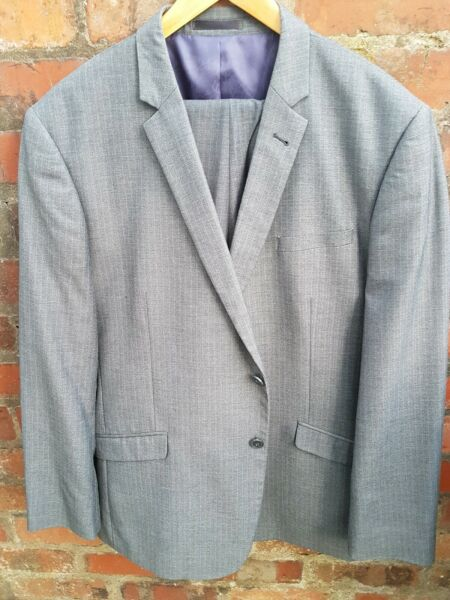 Grey Pinstripe Single Breasted Suit Jacket 46R Trousers 38