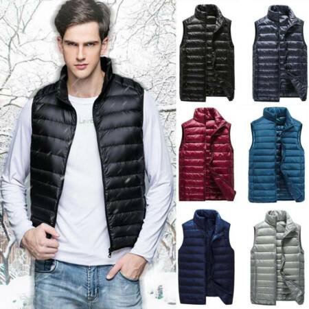 img-UK Mens Duck Down Quilted Gilet Vest Lightweight Packable Sleeveless Jacket Top