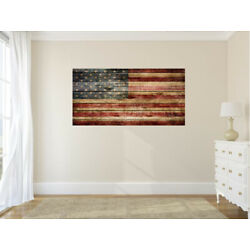 Vintage American Flag Distressed Vinyl Wall Decal USA Sticker Graphic Art Mural