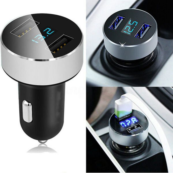 3.1A Dual USB Car Charger Adapter LED Display Fast Charging for iPhone Samsung W