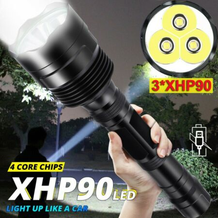 img-200000lm LED Flashlight 3*XHP90 Torch Light Rechargeable 18650 Lamp Military UK