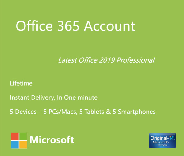 Microsoft Office 365 2019 New Account 32/64 Bits 5 TB Cloud INSTANT 5 MAC WIN