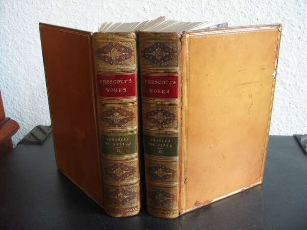 No-504-Charles the Fifth-Conquest of Mexico-By Prescott-1857---2 Bd.-Stahlstiche