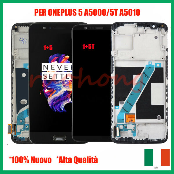 SCHERMO LCD PER ONEPLUS 5 A5000 /5T A5010 DISPLAY TOUCH SCREEN VETRO + FRAME