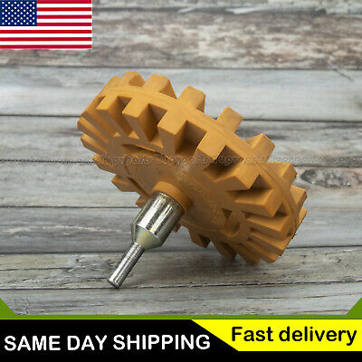 Decal Removal Eraser Wheel + Power Drill Arbor Adapter 4 inch Rubber Pinstripe