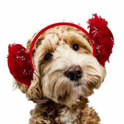 Outward Hound Fluffy Clip-on Holiday Earmuffs for Dogs