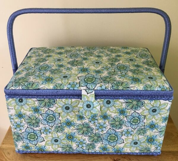SEWING BOX BASKET XL Rectangle 'Lydia' Design VERY PRETTY SUPER QUALITY