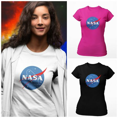 img-Woman's NASA LOGO T-Shirt Printed Ladies Space Astronaut Geek Nerd Star